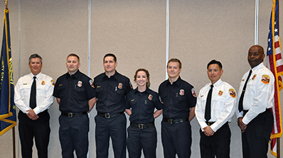 firefighters badging ceremony